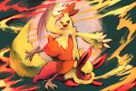 blue_eyes breathing_fire combusken commentary creature fire flareon highres huge_filesize looking_at_viewer looking_away no_humans orange_eyes pokemon pokemon_(creature) purplekecleon pyrokinesis signature standing standing_on_one_leg