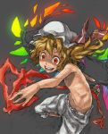 blonde_hair bloomers child colored_eyelashes crazy crazy_eyes flandre_scarlet flat_chest foreshortening graphite_(medium) grey_background hands hat highres laevatein nu_ma red_eyes side_ponytail simple_background sketch smile solo topless touhou traditional_media