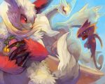 clothed_pokemon creature dutch_angle food fruit highres holding jumping kecleon kyurem looking_back no_humans perspective pmd-explorers pokemon pokemon_(creature) purplekecleon red_eyes running scarf theft yellow_eyes zangoose