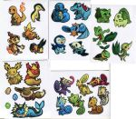 alternate_color bird blue_skin bulbasaur chameleon chimchar creature cyndaquil eevee evolutionary_stone eyes_closed fiery_tail fire_stone flareon green_skin happy jolteon kecleon looking_at_viewer lying monkey mudkip multiple_persona no_humans not_shiny_pokemon orange_skin oshawott paper penguin photo pig piplup pokemon purplekecleon red_eyes red_skin smile snivy squirtle standing tail-tip_fire tepig thunder_stone tongue tongue_out torchic totodile treecko turtwig vaporeon water_stone white_background white_skin yellow_eyes yellow_skin
