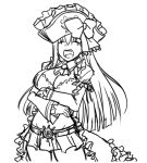 belt_buckle bow breasts bustier captain_liliana cleavage closed_eyes crossed_arms drawfag eyes_closed frills hat large_breasts lineart long_hair matsu-sensei miniskirt monochrome open_mouth pirate pirate_hat pleated_skirt queen's_blade queen's_blade_rebellion queen's_blade queen's_blade_rebellion skirt solo thighs yawning
