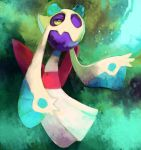 creature floating froslass ghost green_background highres looking_up no_humans pokemon pokemon_(creature) purplekecleon signature solo yellow_sclera