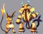 >:) claws clothed_pokemon creature electivire electricity evil_smile eyelashes full_body glowing goggles grey_background looking_away no_humans orange_skin pmd-explorers pokemon pokemon_(creature) purplekecleon raichu simple_background smile standing yellow_skin