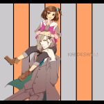 1girl bow braid brown_eyes brown_hair carrying formal grey_hair hair_bow hair_ornament hairclip highres kaburagi_kaede long_hair one_side_up sasai_rinko_(hyakkin69) shoulder_carry side_ponytail suit tiger_&_bunny vest yuri_petrov
