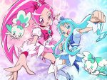 boots bow chypre_(heartcatch_precure!) clenched_hand coffret_(heartcatch_precure!) cure_blossom cure_marine floral_background flower hanasaki_tsubomi heartcatch_precure! highres kurumi_erika looking_at_viewer multicolored_background multiple_girls official_art precure smile thighhighs umakoshi_yoshihiko wallpaper