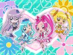 chibi cure_blossom cure_marine cure_moonlight cure_sunshine floral_background flower hanasaki_tsubomi heart heartcatch_precure! highres kurumi_erika looking_at_viewer multiple_girls myoudouin_itsuki official_art polka_dot polka_dot_background precure rose single_elbow_glove single_glove smile sunflower tsukikage_yuri umakoshi_yoshihiko wallpaper wink