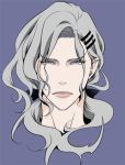 bow grey grey_eyes grey_hair hair_bow hair_ornament hairclip lips long_hair male portrait purple_background simple_background solo t2rn tiger_&_bunny yuri_petrov