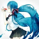 1girl aqua_hair bottle_miku closed_eyes fish hair_ribbon hatsune_miku liquid_hair long_hair mattya ribbon school_uniform serafuku skirt solo twintails very_long_hair vocaloid water