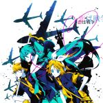 2girls airplane ayko bad_id bow hair_bow hatsune_miku headphones headset kagamine_len kagamine_rin koi_wa_sensou_(vocaloid) love_is_war megaphone multiple_girls twintails vocaloid