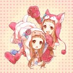 ameiro animal_costume animal_ears bow brown_eyes brown_hair dog_ears dual_persona ichihara_nina idolmaster idolmaster_cinderella_girls sheep sheep_costume sheep_ears teeth wolf_costume
