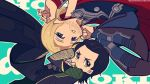 avengers black_hair blonde_hair blue_eyes chibi green_eyes laphy loki_(marvel) marvel multiple_boys panty_&_stocking_with_garterbelt parody style_parody thor_(marvel)