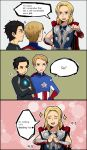 3boys avengers black_eyes black_hair blonde_hair blue_eyes cape captain_america chibi comic english facial_hair iron_man korean laphy marvel multiple_boys mustache sparkle steve_rogers stubble thor_(marvel) tony_stark