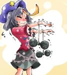 1girl alternate_hair_color black_hair blush closed_eyes dumbbell frown hat jiangshi miyako_yoshika ofuda outstretched_arms shinapuu short_hair skirt solo sweat touhou trembling wavy_mouth