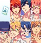 6+boys ;d bespectacled black_hair blonde_hair blue_eyes blue_hair brown_hair ear_stud ear_studs earrings glasses green_eyes hat hijirikawa_masato ichinose_tokiya ittoki_otoya jewelry jinguuji_ren kurusu_shou multicolored_eyes multiple_boys nagisa_manoa nail_polish nanami_haruka open_mouth orange_hair red_eyes red_hair redhead shinomiya_natsuki smile uta_no_prince-sama wink