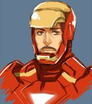 black_hair blue_background facial_hair iron_man kanapy male marvel mustache power_armor simple_background solo superhero tony_stark
