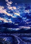 cloud clouds cola_(gotouryouta) dusk fireflies flower grass highres hill lamppost landscape lights making_of no_humans original rice_paddy scenery sky star_(sky) starry_sky telephone_pole water