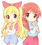 2girls aikatsu! blonde_hair blush brown_eyes brown_hair hair_ribbon hoshimiya_ichigo hoshimiya_ringo_(aikatsu!) long_hair looking_at_viewer mirai_(sugar) mother_and_daughter multiple_girls open_mouth red_eyes ribbon smile