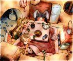 animal_ears blush bunny_ears costume cozy heater kotatsu rabbit_ears saliva sleeping table tail television tiger_costume tiger_ears tiger_print tiger_tail xbox