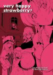 artist_request book braid breasts cover cover_page crescent doujinshi flandre_scarlet hair_ribbon hat hong_meiling izayoi_sakuya kanzume large_breasts maid maid_headdress monochrome patchouli_knowledge pink remilia_scarlet ribbon side_braid sitting touhou twin_braids window