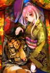 ahoge colorful japanese_clothes kimono long_hair obi orange_eyes pink_hair pupps smile solo tiger