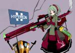 catysummer claptrap dress green_hair gun hyperion red_eyes rifle short_hair trigger_discipline weapon