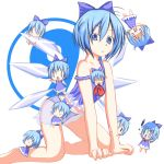 0_0 all_fours biting blue_eyes blue_hair blue_panties bow camisole cirno codemofel flat_chest hair_bow kneeling lingerie lowres panties skirt strap_slip touhou underwear ⑨