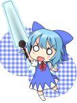 blue_eyes blue_hair bow chibi cirno energy_sword hair_bow kuroact musashino_udon o_o short_hair solo sword touhou weapon wings