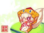 animal_ears chibi costume hat inubashiri_momiji raion-san red_eyes short_hair silver_hair tail tiger_costume tiger_print tokin_hat touhou wolf_ears wolf_tail