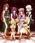 :o ascot bare_legs blonde_hair blue_eyes book braid checkered checkered_floor chinese_clothes couch crescent crossed_arms crossed_legs fangs flandre_scarlet green_eyes group_picture hat head_wings hong_meiling izayoi_sakuya koakuma lavender_hair long_hair maid maid_headdress multiple_girls no_wings patchouli_knowledge pink_eyes pink_hair purple_eyes purple_hair red_eyes red_hair remilia_scarlet short_hair side_slit silver_hair sitting standing the_embodiment_of_scarlet_devil touhou twin_braids white_hair yuki_(popopo)
