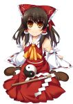 amanooni_touri arm_support bad_id bare_shoulders bow breasts brown_hair detached_sleeves gohei hair_bow hakurei_reimu highres midriff orange_eyes sarashi short_hair sideboob sitting smile solo ten_oni_touri touhou transparent_background wariza yin_yang