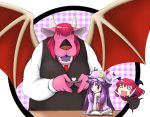 >:) ^_^ anger_vein bat_wings black_legwear book chibi closed_eyes cosplay crescent crossover cup dragon dragon_quest fangs hat head_wings headwings horns koakuma koakuma_(cosplay) kuroact long_hair musashino_udon necktie o_o open_mouth patchouli_knowledge plaid purple_eyes purple_hair red_hair redhead saucer skirt smile teacup touhou vest violet_eyes wings