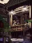 brown_hair cigarette daruma_doll doll frog original rain sitting smoking tank_top torigoe_takumi
