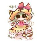 animal_costume bad_id chibi costume ex-keine green_hair kamishirasawa_keine long_hair tiger_costume tiger_print touhou usoneko