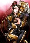 bayonetta_(character) bodysuit breasts candy chiba_toshirou cleavage glasses huge_breasts large_breasts lollipop long_hair tiger tiger_print