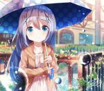 1girl alternate_costume bangs blue_eyes blue_umbrella blurry blush breasts bridge brown_jacket closed_mouth clouds collarbone commentary_request cowboy_shot day depth_of_field door eyebrows_visible_through_hair gochuumon_wa_usagi_desu_ka? hair_between_eyes hair_ornament hairclip holding holding_umbrella house kafuu_chino light_blue_hair long_hair long_sleeves looking_at_viewer mokachino outdoors plant polka_dot_umbrella rain river shirt sidelocks signature small_breasts smile solo standing umbrella vines water_drop white_shirt window wood wooden_bridge x_hair_ornament