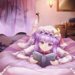 bed book bow broom chair crescent cup curtains desk dress hair_bow hat kirisame_marisa lamp leg_up long_hair lying multiple_girls on_stomach open_book patchouli_knowledge pillow purple_eyes purple_hair reading saucer sen_kagura shadow silhouette socks teacup touhou violet_eyes wavy_mouth white_legwear