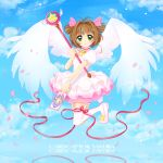 card card_captor_sakura cardcaptor_sakura child dress green_eyes hoshi_no_tsue kinomoto_sakura ribbon sakura_card short_hair tana_mochiko twintails two_side_up wand wings