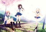 3girls coffee-kizoku cure_girl hoshimiya_miyu nanjou_rena panties petals seifuku shiramine_rika skirt skirt_lift underwear upskirt