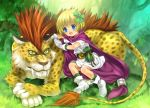 animal belt bianca's_daughter bianca's_daughter blonde_hair blue_eyes blush borongo bow cape child dragon_quest dragon_quest_v dress fang forest gloves hair_bow hair_ribbon loli moonknives mutsuki_(moonknives) nature open_mouth original ribbon short_hair smile