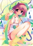 absurdres boots breasts cleavage copyright_request highres naked_overalls no_bra overalls pink_hair purple_eyes rain raincoat sitting umbrella violet_eyes youta
