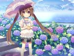 brown_hair flower loli sie-sie twintails umbrella violet_eyes