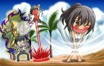 2boys beach black_hair blood blush chiba_isshin chibi cloud clouds crossover d: dio_brando emiya_kiritsugu emiya_norikata emiya_noritaka epic_nosebleed fate/zero fate_(series) glasses jojo_no_kimyou_na_bouken miruno multiple_boys nosebleed open_mouth palm_tree ponytail seiyuu_connection shirley_(fate/zero) sky stand_(jojo) tan the_world translated translation_request tree wind