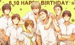 6+boys aida_riko angry black_hair brown_eyes brown_hair closed_eyes eyes_closed happy_birthday hyuuga_junpei izuki_shun kiyoshi_teppei koganei_shinji kuroko_no_basuke mitobe_rinnosuke multiple_boys petting school_uniform serafuku short_hair sleepy69 tsuchida_satoshi