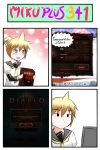 300 4koma blonde_hair blue_eyes catstudio_(artist) comic computer_screen detached_sleeves diablo diablo_3 error_screen game google_chrome highres kagamine_len leonidas male neckerchief open_mouth playing_games ponytail reverse_translation shirt skype smile solo thai translated truth vocaloid windows_operating_system