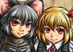 2girls animal_ears blonde_hair crossover face five-seven grey_hair hair_ribbon lips looking_at_viewer metal_gear_solid mouse_ears multiple_girls nazrin purple_eyes red_eyes ribbon rumia seva_suit stalker_(game) touhou youkai