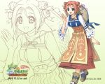 1girl 2009 atelier_(series) atelier_lina blue_eyes choker copyright_name dated dress eselin_freeden gradient gradient_background hair_bun hat official_art orange_hair shoes short_hair smile solo wallpaper watanuki_nao white_background yellow_background zoom_layer