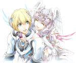 2girls armor blonde_hair blue_eyes closed_eyes eyes_closed fiorun head_wings melia multiple_girls short_hair shulk silver_hair white_hair xenoblade