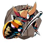 blue_eyes claws creature dated helmet highres kabuto_(pokemon) kabutops monster no_humans pokemon pokemon_(creature) rock sido_(slipknot) signature standing transparent_background trilobite