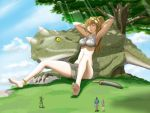 2boys 2girls absurdres anklet armpits bare_legs barefoot bikini bikini_top blonde_hair blush breasts cleavage dinosaur feet female giant_tree giantess grass highres jewelry loincloth long_hair male messy_hair mole multiple_boys multiple_girls nature original panah people ponytail relaxing shorts sitting sleeping soldier soles sunlight swimsuit sword toes tree weapon