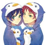 animal_hood bird blue_hair brothers green_eyes hood jamijami male mawaru_penguindrum multiple_boys penguin penguin_2-gou penguin_3-gou penguin_hood red_hair redhead short_hair siblings takakura_kanba takakura_shouma